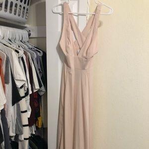 Low cut long blush dress